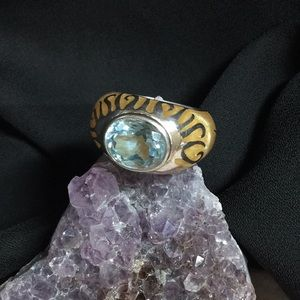 Sterling Blue Topaz Yellow Lucite Signed AP Ring